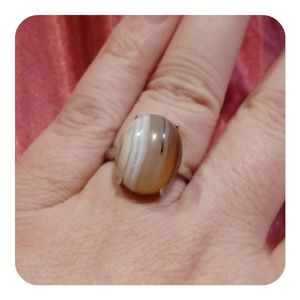 💞🆕 Natural Striped Agate Ring stamed 925 silver